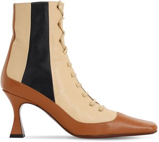 MANU Atelier 80mm Lace Leather Ankle Boots