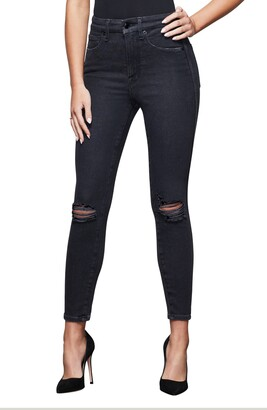 Good American Good Curve Ripped Crop Skinny Jeans