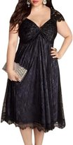 AMZ PLUS Elegant Lace V Neck Short Sleevel Women's Mid-Long Dress 5XL