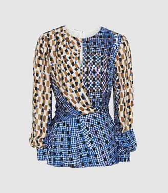 Reiss Selma - Printed Wrap Front Blouse in Blue