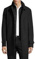 Burberry Marcham Single-Breasted Coat w/Warmer, Dark Charcoal Melange