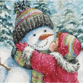 Dimensions Kiss for Snowman Gold Petite Counted X Stitch, White