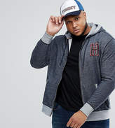 Tommy Hilfiger Plus Full Zip Hoodie H Applique In Dark Blue Marl
