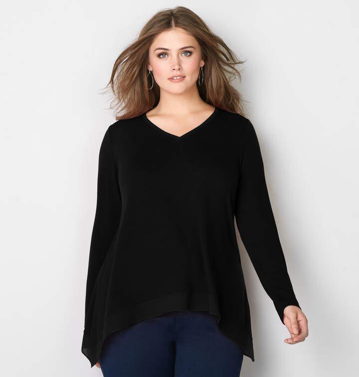 Chiffon Trim Asymmetrical Pullover