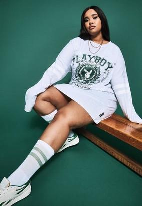 Missguided Playboy X Plus Size Gray Varsity Bunny Long Sleeve T Shirt Dress