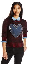 Love Moschino Women's Mohair Blend Melange Studded Heart Sweater, Red Mohair Blend Melange