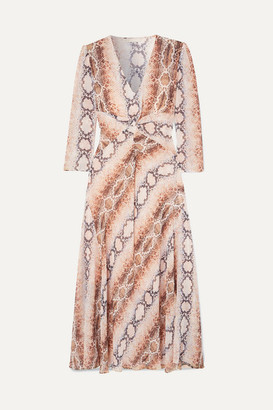 Maje Gathered Snake-print Crepe De Chine Dress - Ivory
