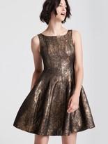 Halston Fit and Flare Metallic Jacquard Dress