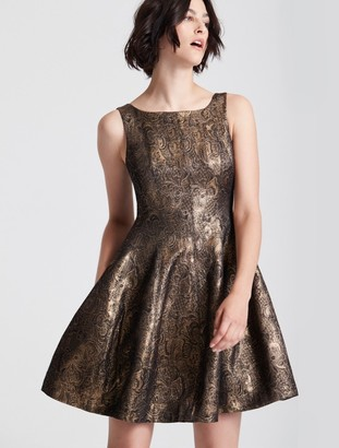 Halston Fit and Flare Metallic Jacquard Dress