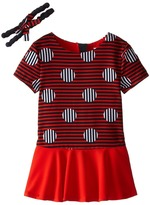 Little Marc Jacobs Stripe and Dot Dress with Headband (Toddler/Little Kids)