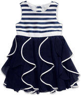 Sweet Heart Rose Striped Ruffle Special Occasion Dress, Little Girls (2-6X)