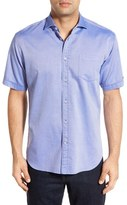 Thomas Dean Men's Trim Fit Short Sleeve Dobby Sport Shirt