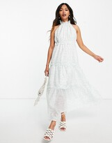 Thumbnail for your product : Lost Ink midaxi halterneck dress with tiered skirt in ditsy floral