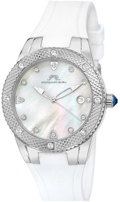 Women's Silver Tone & Mother of Pearl with Swarovski Crystals Watch, 36mm