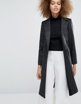 Helene Berman Longline Zoe Coat in Black Check