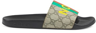 Gucci Women's 'Fake/Not' print slide sandal