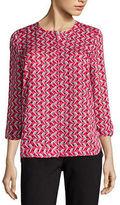 Liz Claiborne 3/4 Sleeve Button-Front Woven Blouse