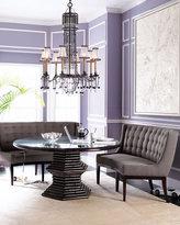 Rattan Dining Table & Gray Tweed Seats