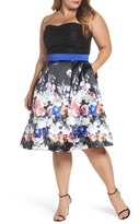 Mac Duggal Plus Size Women's Floral Print Strapless Fit & Flare Dress