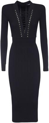Balmain V-neck Long-sleeved Dress