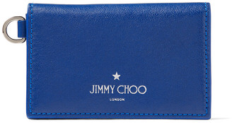 Jimmy Choo CLIFFY Pop Blue Satin Leather Card Holder