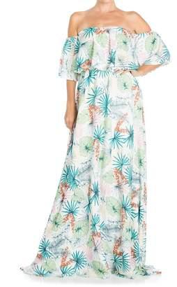 Meghan LA Morning Glory Popover Printed Maxi Dress