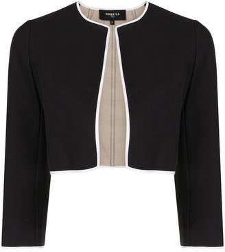 Paule Ka Contrast-Trimmed Cropped Jacket