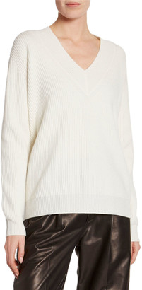 Tom Ford Cashmere Large-Ribbed V-Neck Sweater
