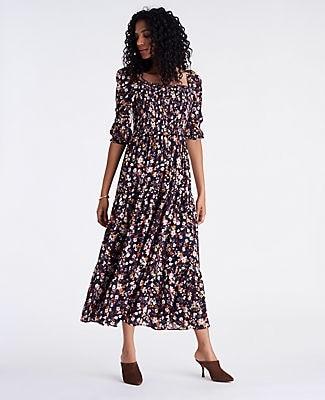 Ann Taylor Tall Floral Smocked Maxi Dress
