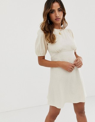 Asos Design DESIGN linen mini dress with puff sleeves-Beige