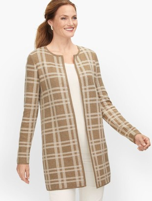 Talbots Textured Open Front Sweater Jacket - Plaid