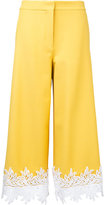 Sara Battaglia lace hem cropped trousers - women - Cotton/Polyamide/Spandex/Elastane - 42
