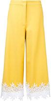 Sara Battaglia lace hem cropped trousers - women - Cotton/Polyamide/Spandex/Elastane - 48