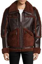 Yves Salomon Men's Shearling Trimmed Leather Jacket