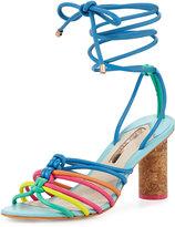 Sophia Webster Copacabana Strappy Mid-Heel Sandal, Blue/Multi