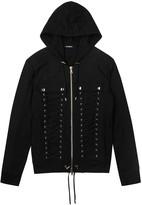 Balmain Black Lace-up Cotton Sweatshirt