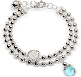 Rebecca Boulevard Stone Rhodium Over Bronze Double Beadball Chain Bracelet w/Hydrothermal Turquoise Stone