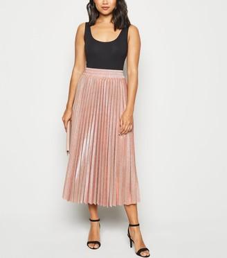 New Look Petite Glitter Pleated Midi Skirt