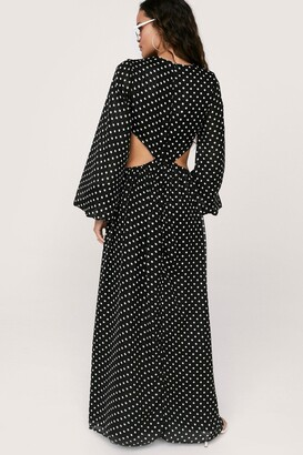 Nasty Gal Womens Polka Dot Long Sleeve Cut Out Maxi Dress - Black - 8