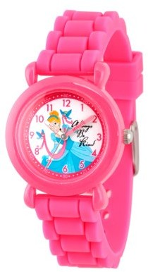 Disney Princess Cinderella Girls' Pink Plastic Time Teacher Watch, Pink Silicon Strap