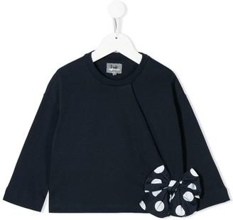 Il Gufo polka-dot bow T-shirt