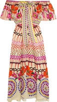 Temperley London Dream Catcher Printed Hammered Silk-satin Dress - Pink