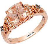LeVian 14K Strawberry Gold Peach Morganite Ring with Chocolate and Vanilla Diamonds