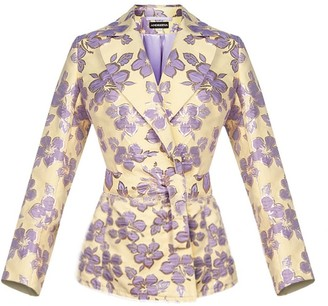 Andreeva Vanilla Jacquard Jacket With Detachable Feather Cuffs