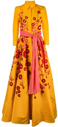 Carolina Herrera Floral Embroidered Shirt Gown