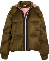 Ganni Hooded Quilted Shell Down Jacket - Army green