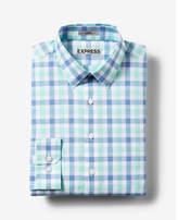 Express fitted plaid cotton dress shirt
