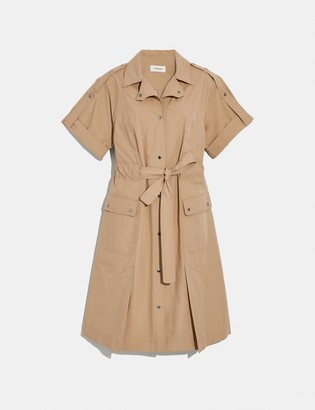 Coach Cotton Tie Waist Shirt Dress