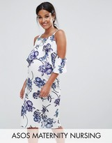 Asos NURSING Textured Cold Shoulder Midi Porcelain Print Dress