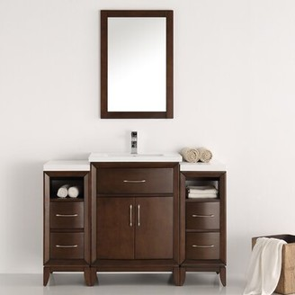 "Cambridge Silversmiths 48"" Single Traditional Bathroom Vanity Set with Mirror Fresca Base Finish: Antique Coffee"